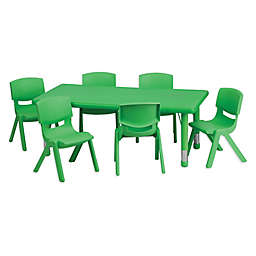 Flash Furniture Rectangular Activity Table with 6 Stack Chairs in Green