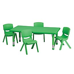 Flash Furniture Rectangular Activity Table with 4 Stack Chairs in Green