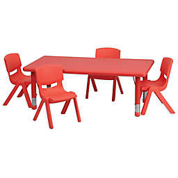 Flash Furniture Rectangular Activity Table with 4 Stack Chairs in Red