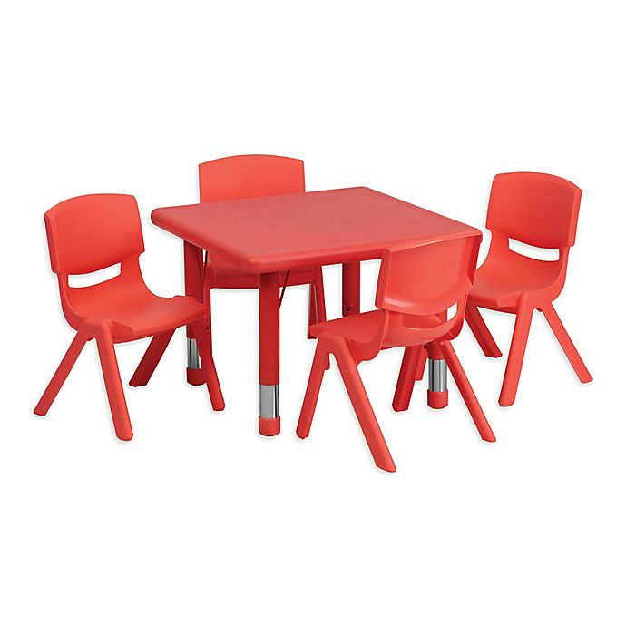 Alternate image 1 for Flash Furniture 24-Inch Square Activity Table with 4 Stackable Chairs in Red