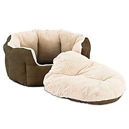 Sleep Zone Reversible Cushion Pet Bed in Chocolate