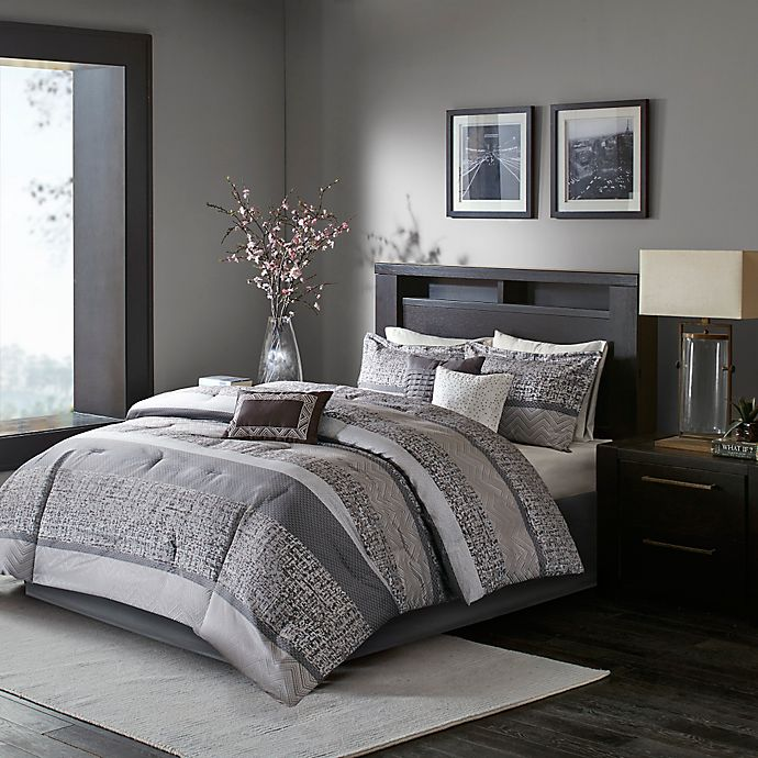 Alternate image 1 for Madison Park Rhapsody 7-Piece Queen Woven Jacquard Comforter Set in Grey