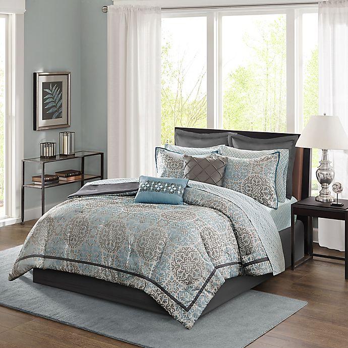 Madison Park Sharlotta 12-Piece Comforter Set In Blue