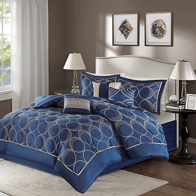 Madison Park Tamia 7-Piece Comforter Set In Navy