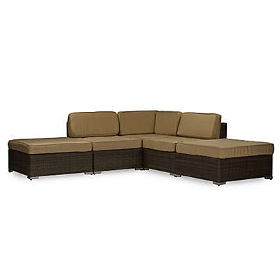 Baxton Studio Owen Sectional in Brown/Tan