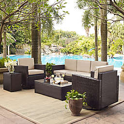 Crosley Palm Harbor 5-Piece Outdoor Resin Wicker Conversation Set with Cushions