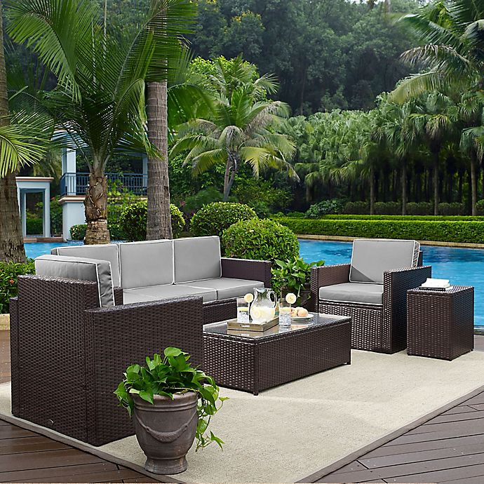 Alternate image 1 for Crosley Palm Harbor 5-Piece Outdoor Wicker Entertainment Set in Grey