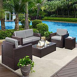 Crosley Palm Harbor 5-Piece Outdoor Wicker Entertainment Set