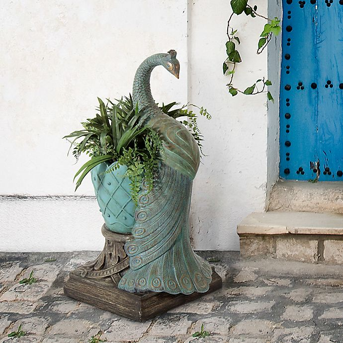 Alternate image 1 for Bombay® Outdoor Royal Peacock Planter in Jade