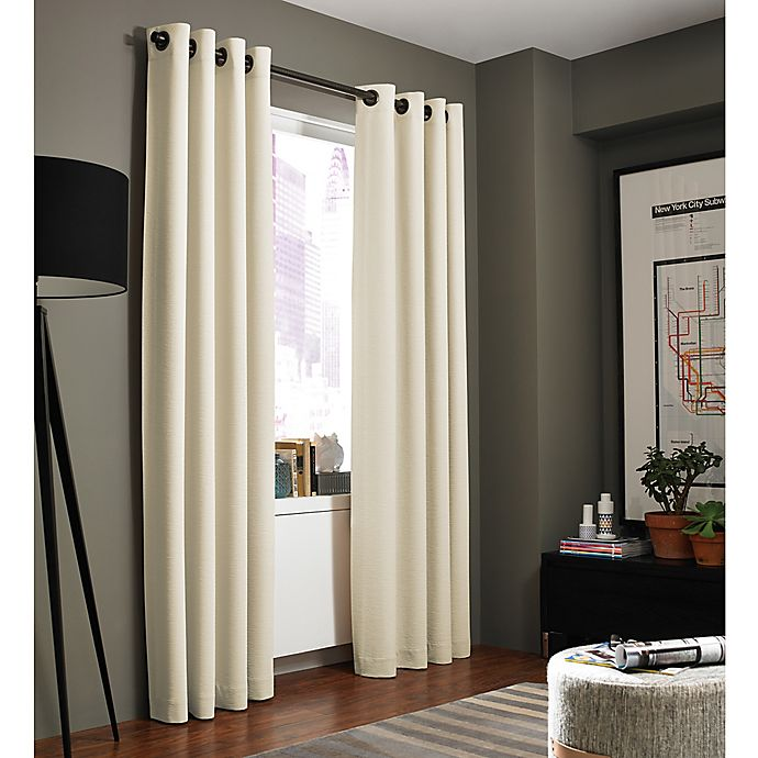 Alternate image 1 for Kenneth Cole Reaction Home Bryant Park 95-Inch Grommet Top Window Curtain Panel in Chalk