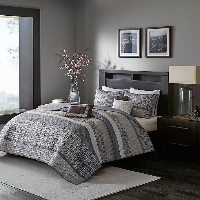 Alternate image 1 for Madison Park Rhapsody 6-Piece Full/Queen Woven Jacquard Coverlet Set in Grey