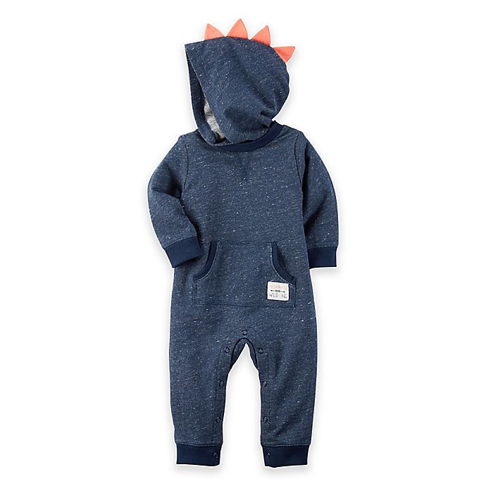 Alternate image 1 for carter's® Hooded French Terry Jumpsuit in Navy