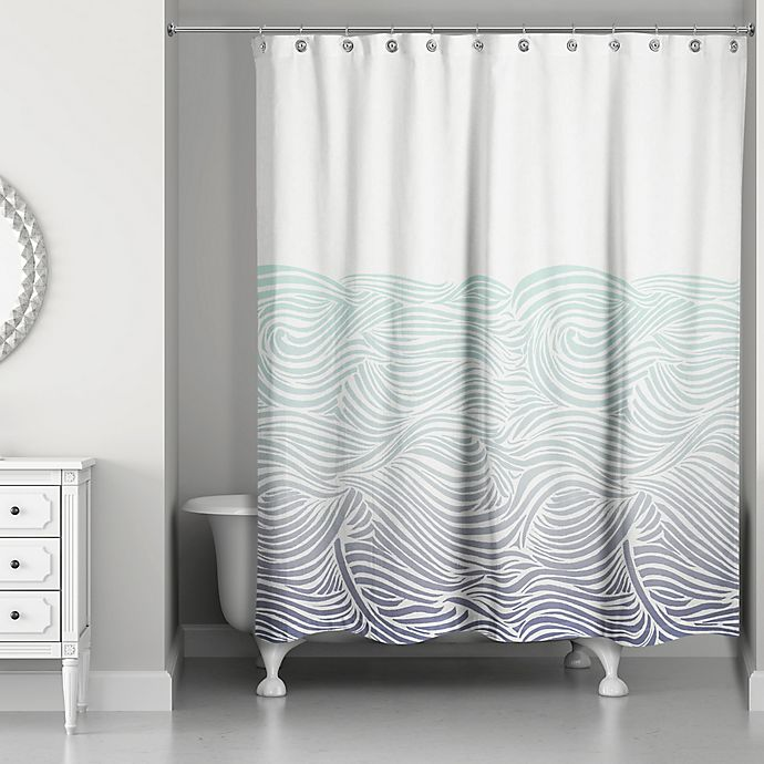 Alternate image 1 for Designs Direct Waves Shower Curtain in Blue