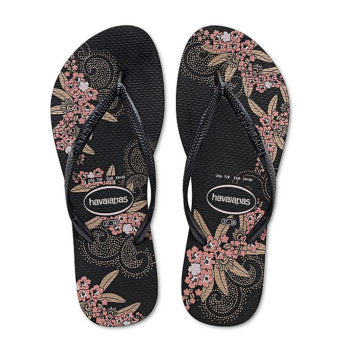 2a2ff194d171b4 Havaianas® Size 11 12 Slim Organic Women s Sandal in Black Gold