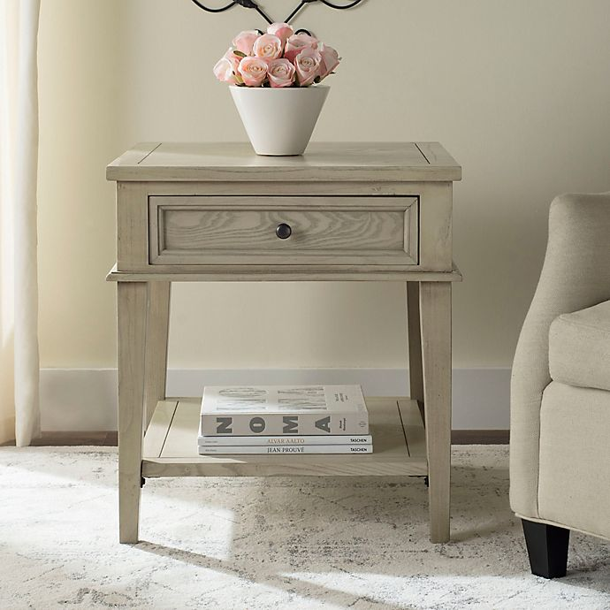 Safavieh Manelin White Washed End Table Bed Bath Beyond