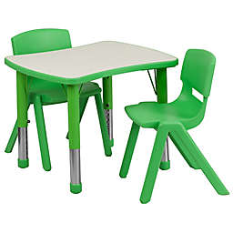 Flash Furniture Rectangular Activity Table with 2 Stackable Chairs in Green/Grey