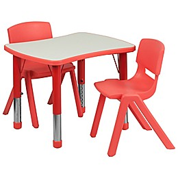 Flash Furniture Rectangular Activity Table with 2 Stackable Chairs in Red/Grey