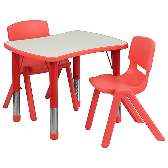 Alternate image 1 for Flash Furniture Rectangular Activity Table with 2 Stackable Chairs in Red/Grey