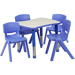 Flash Furniture Rectangular Activity Table with 4 Stackable Chairs in Blue