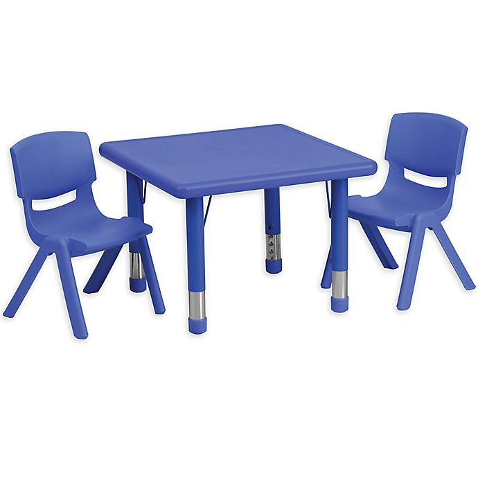 Alternate image 1 for Flash Furniture 24-Inch Square Activity Table with 2 Stackable Chairs in Blue