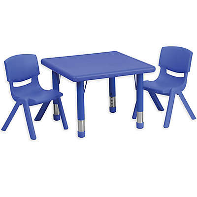 Flash Furniture 24-Inch Square Activity Table with 2 Stackable Chairs in Blue