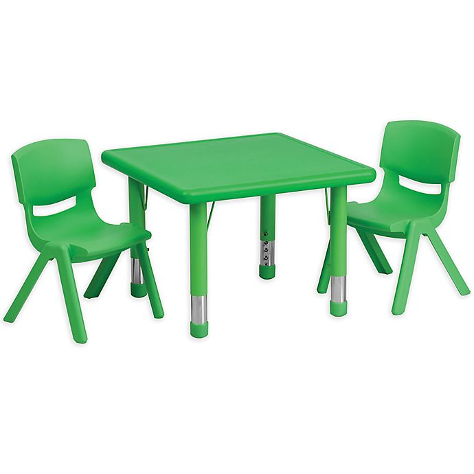 Alternate image 1 for Flash Furniture 24-Inch Square Activity Table with 2 Stackable Chairs in Green