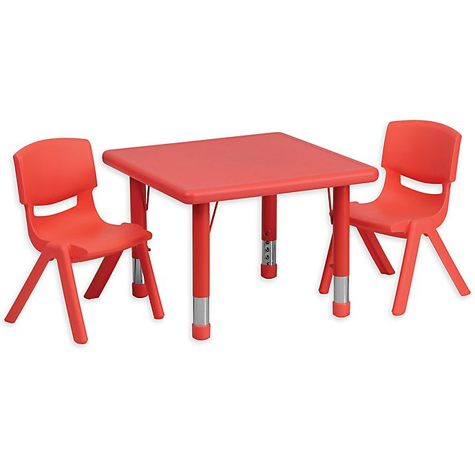 Alternate image 1 for Flash Furniture 24-Inch Square Activity Table with 2 Stackable Chairs in Red