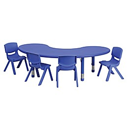 Flash Furniture Half-Moon Activity Table with 4 Stack Chairs in Blue