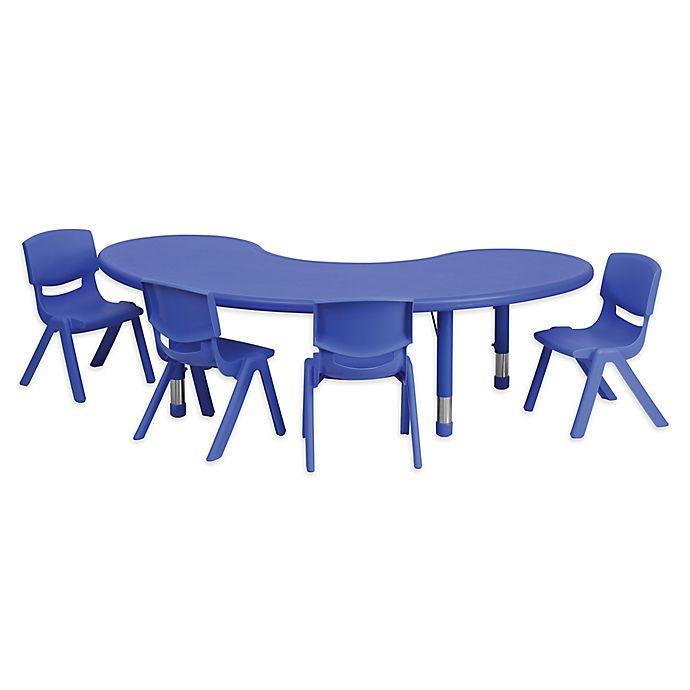 Alternate image 1 for Flash Furniture Half-Moon Activity Table with 4 Stack Chairs in Blue
