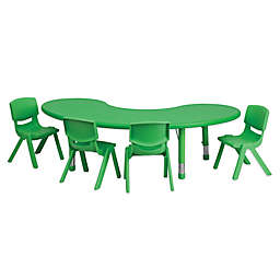 Flash Furniture Half-Moon Activity Table with 4 Stackable Chairs in Green