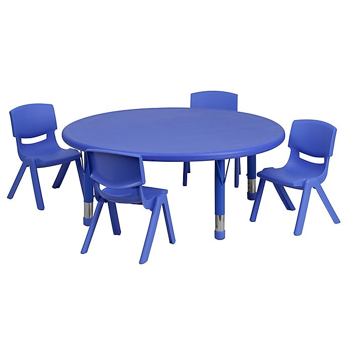 Alternate image 1 for Flash Furniture 45-Inch Round Activity Table with 4 Stackable Chairs in Blue