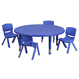 Flash Furniture 45-Inch Round Activity Table with 4 Stackable Chairs in Blue