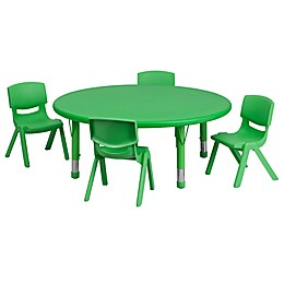 Flash Furniture 45-Inch Round Activity Table with 4 Stackable Chairs in Green
