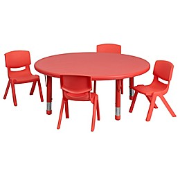 Flash Furniture 45-Inch Round Activity Table with 4 Stackable Chairs in Red