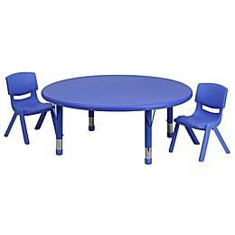 Flash Furniture 45-Inch Round Activity Table with 2 Stackable Chairs in Blue