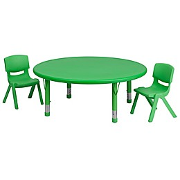 Flash Furniture 45-Inch Round Activity Table with 2 Stackable Chairs in Green