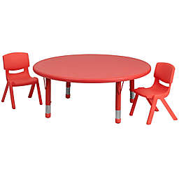 Flash Furniture 45-Inch Round Activity Table with 2 Stackable Chairs in Red