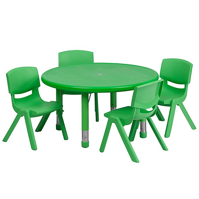Alternate image 1 for Flash Furniture 33-Inch Round Activity Table with 4 Stackable Chairs in Green