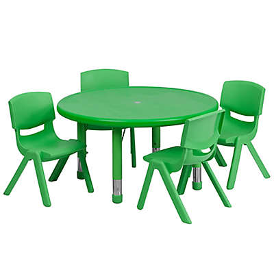 Flash Furniture 33-Inch Round Activity Table with 4 Stackable Chairs in Green