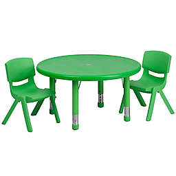 Flash Furniture 33-Inch Round Activity Table with 2 Stackable Chairs in Green
