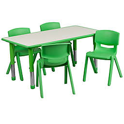 Flash Furniture Rectangular Activity Table with 4 Stackable Chairs in Green/Grey