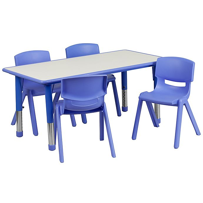Alternate image 1 for Flash Furniture Rectangular Activity Table with 4 Stackable Chairs in Blue/Grey