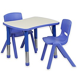 Flash Furniture Rectangular Activity Table with 2 Stackable Chairs in Blue/Grey