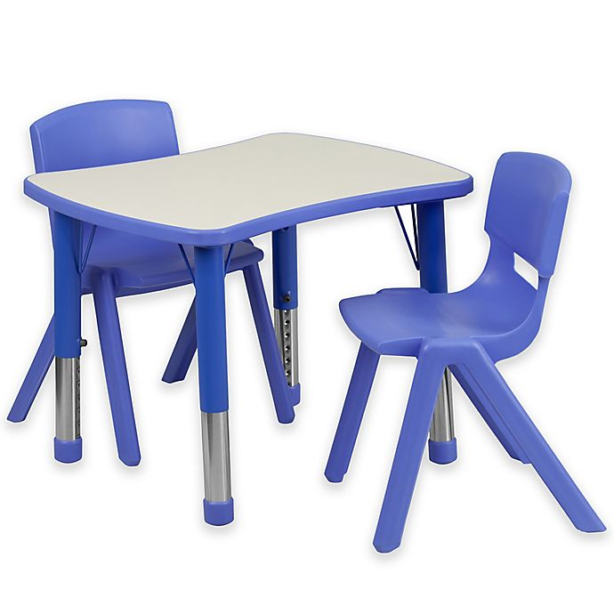 Alternate image 1 for Flash Furniture Rectangular Activity Table with 2 Stackable Chairs in Blue/Grey