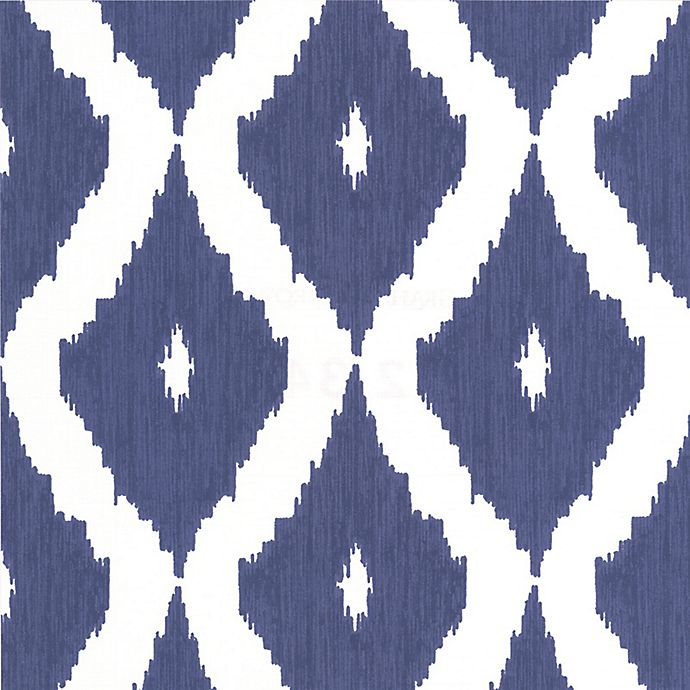 Alternate image 1 for Graham & Brown Kelly's Ikat Wallpaper in White/Prussian Blue