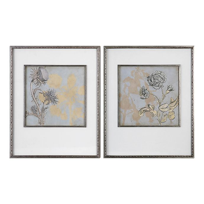 Uttermost Shadow Florals Framed Wall Art (Set of 2) | Bed ...