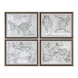 Uttermost World Maps Wall Art (Set of 4)
