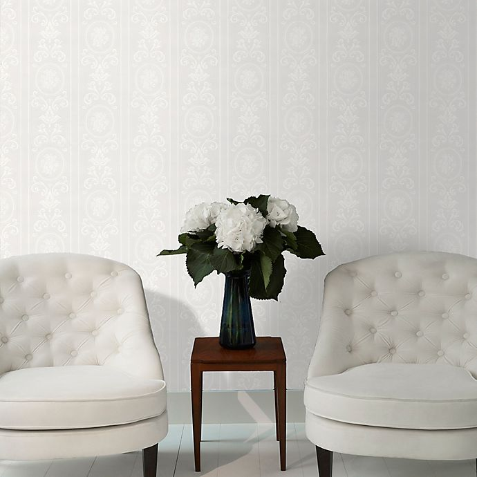 Alternate image 1 for Graham & Brown Cameo Stripe Paintable Wallpaper in White