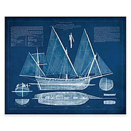 Kate And Laurel Antique Ship Blueprint Canvas Wall Art