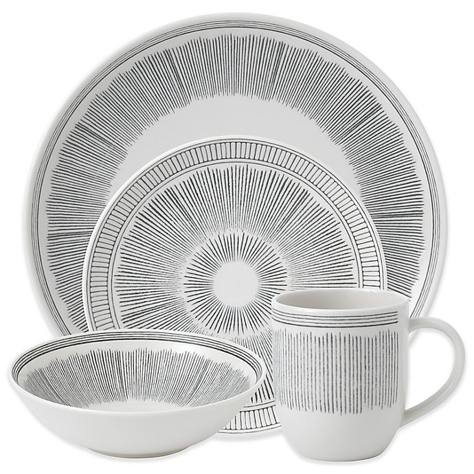 Alternate image 1 for ED Ellen DeGeneres Crafted by Royal Doulton® Grey Lines 16-Piece Dinnerware Set